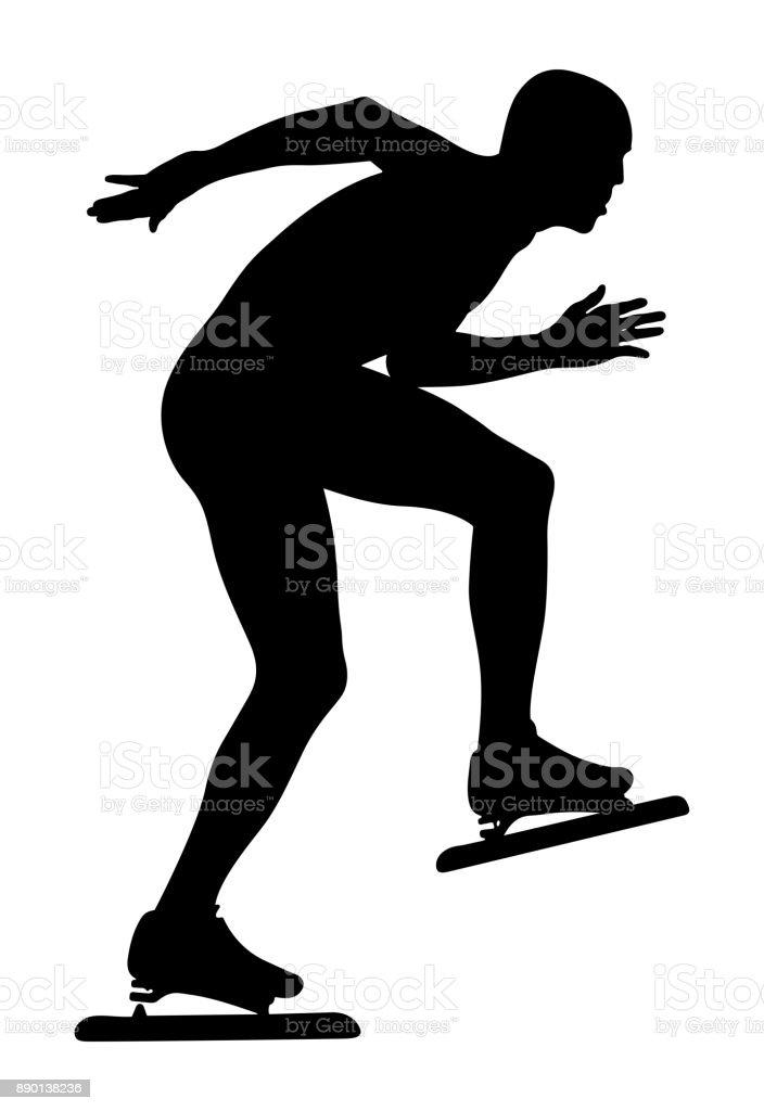 speedskater athlete vector art illustration