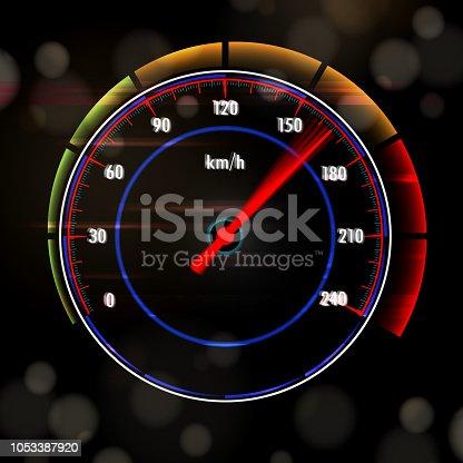 Speedy car dashboard speedometer.