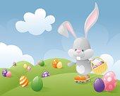 Little Easter bunny delivering eggs on roller skates.