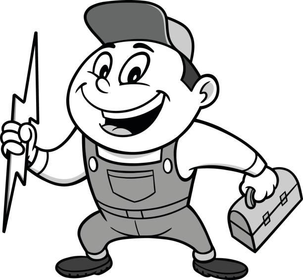 ilustrações, clipart, desenhos animados e ícones de ilustração de eletricista rápida - eletricista