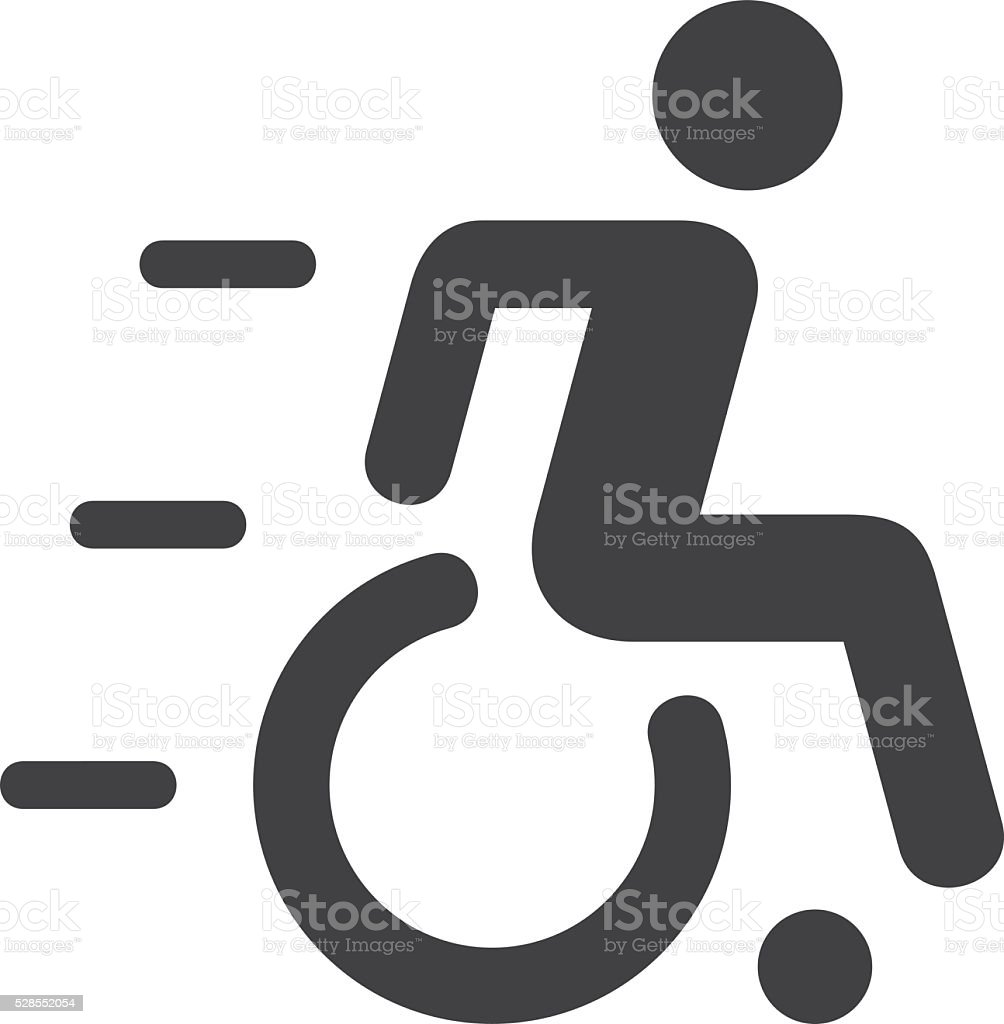 Speedy Wheelchair Sign vector art illustration