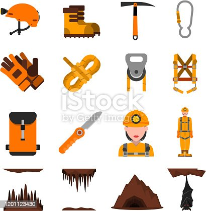 Speleologist in helmet with light harness equipment and ice axe flat icons set abstract isolated vector illustration