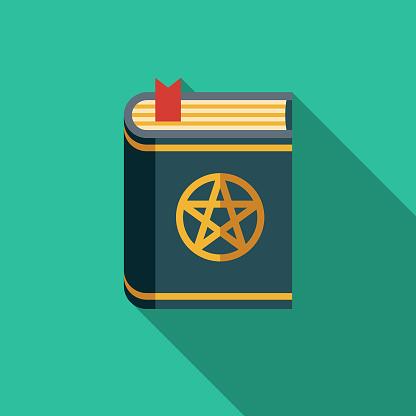 Spell Book Flat Design Fantasy Icon