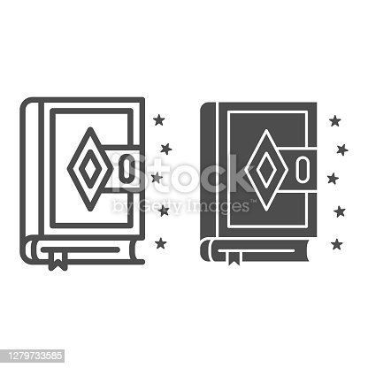 istock Spell Book line and solid icon, Halloween concept, Magic book sign on white background, Ancient magic spellbook icon in outline style for mobile concept and web design. Vector graphics. 1279733585