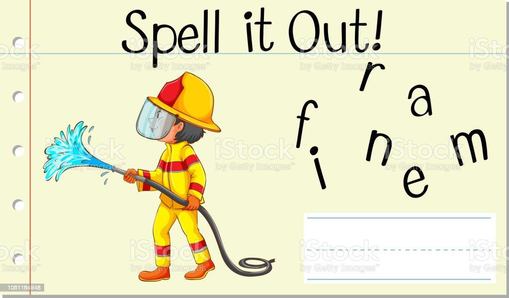 Zauber Englische Wort Feuerwehrmann Stock Vektor Art Und Mehr Bilder