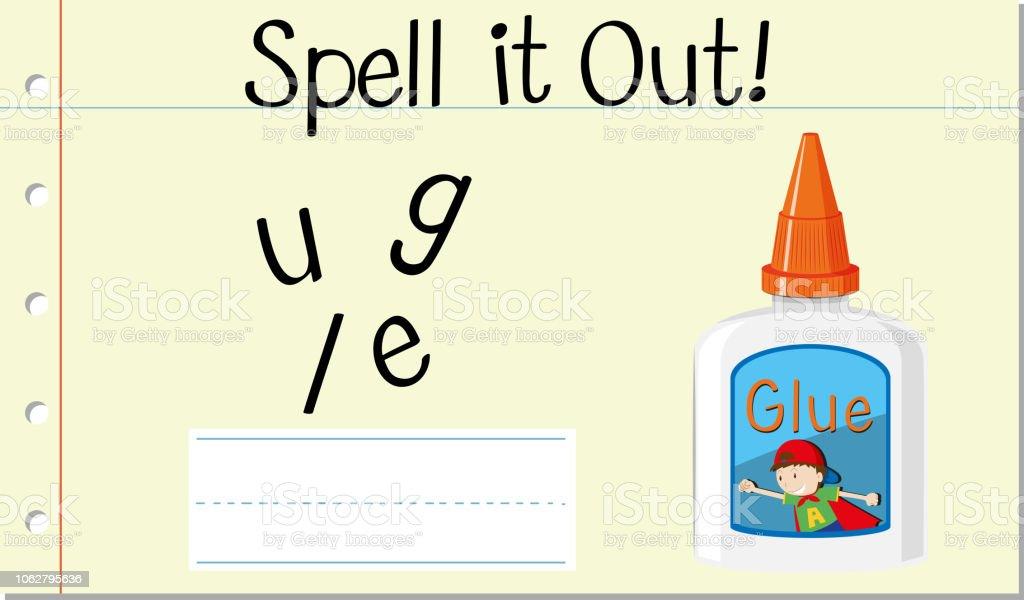 Más De Vectores Ilustración Y Palabra Inglés Pegamento Ortografía v8OmNw0n