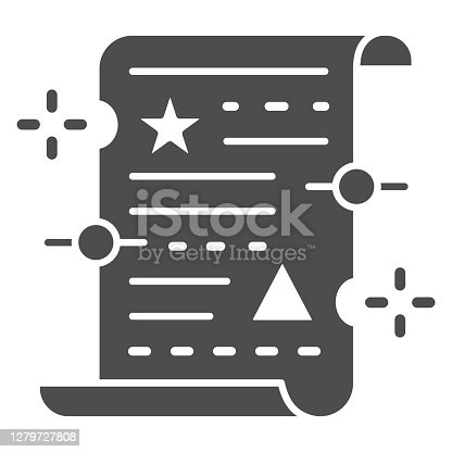 istock Spell on papyrus solid icon, Halloween concept, Old manuscript parchment paper with text sign on white background, magic papyrus icon in glyph style for mobile, web design. Vector graphics. 1279727808