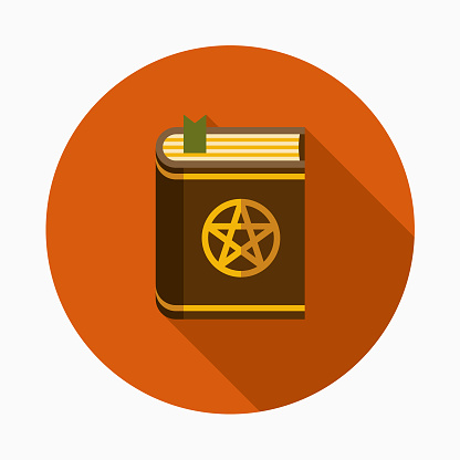Spellbook Flat Design Halloween Icon with Side Shadow