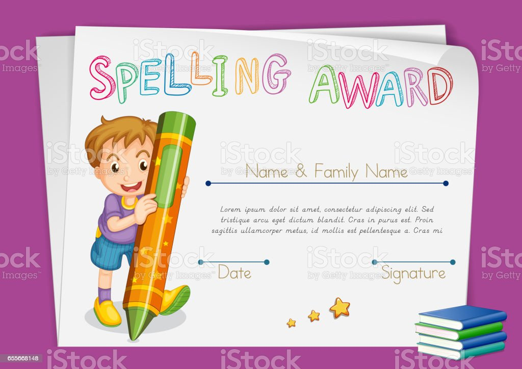 Spelling Award Certificate Template With Kids And Crayon Stock
