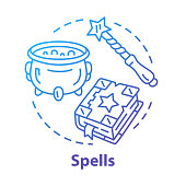 Spells concept icon. Witchcraft and wizardry idea thin line illustration. Wizard, magician equipment, mystic accessories. Witch cauldron, magic wand and spell book vector isolated outline drawing