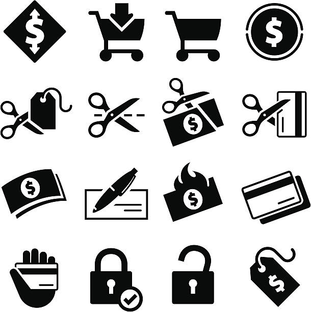 Spending Icons - Black Series Pricing, money and spending icons. Professional icons for your print project or Web site. See more in this series. devaluation stock illustrations