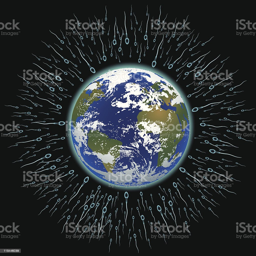 Sperm fertilizing the planet Earth royalty-free stock vector art