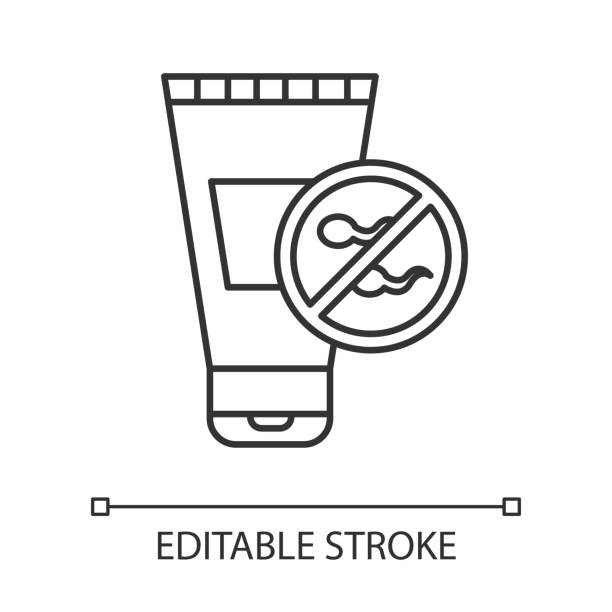Spermicide linear icon. Preservative. Contraceptive for unwanted pregnancy prevention. Lubricant. Safe sex. Thin line illustration. Contour symbol. Vector isolated outline drawing. Editable stroke Spermicide linear icon. Preservative. Contraceptive for unwanted pregnancy prevention. Lubricant. Safe sex. Thin line illustration. Contour symbol. Vector isolated outline drawing. Editable stroke spermicide stock illustrations