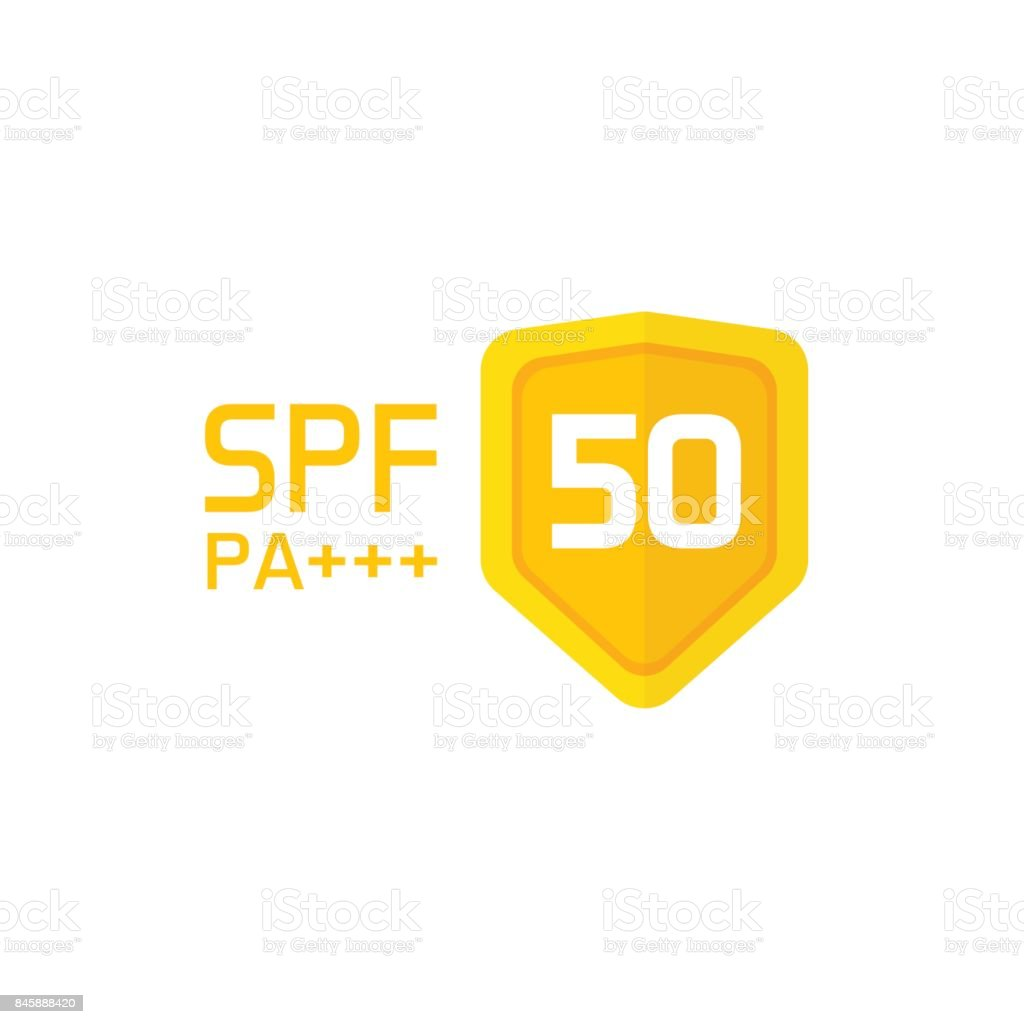 Spf Label Vector Icon Isolated Sun Protection Factor 50 Symbol Or