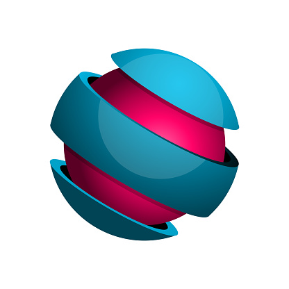 Sphere divided into 3 slices with core. Wrapped sphere.