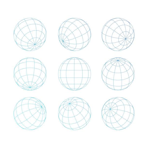 kugelkugel mit raster - globus stock-grafiken, -clipart, -cartoons und -symbole