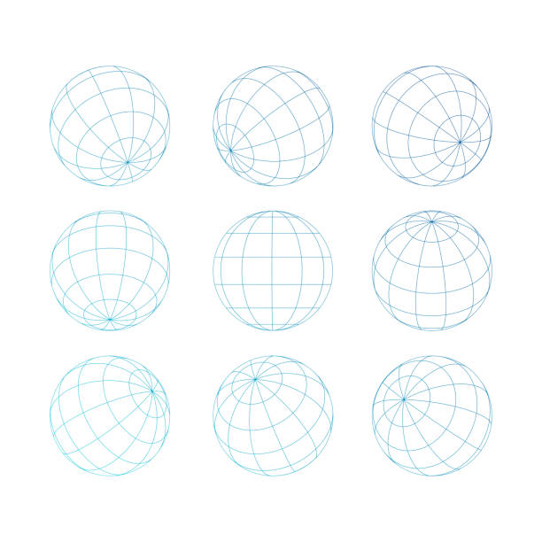 stockillustraties, clipart, cartoons en iconen met sphere globe met grid - planeet