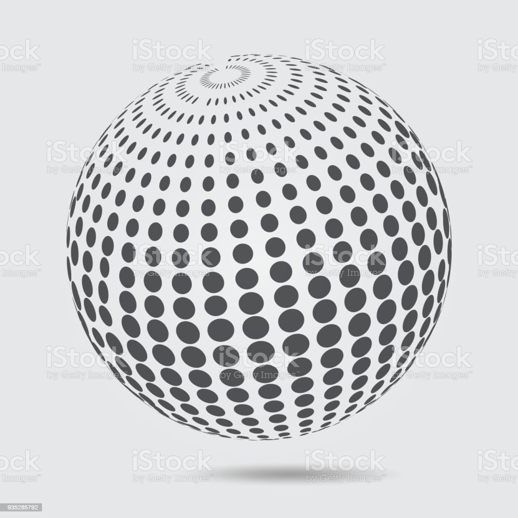 3d Sphere Halftone Pattern Circle Dotted Design Element Isolated On ...
