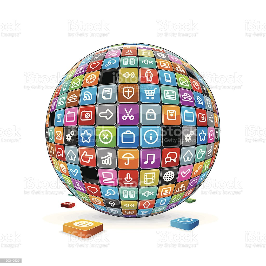 Sphere made from a Apps Icons. Vector Image royalty-free sphere made from a apps icons vector image stock vector art & more images of abstract