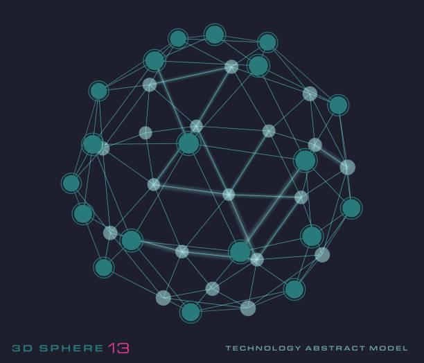 3D Sphere - network vector art illustration