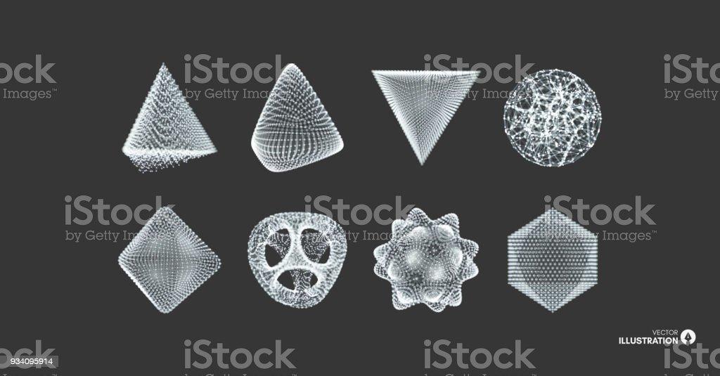 Kugel Oktaeder Und Pyramide Objekte Mit Linien Und Punkten ...