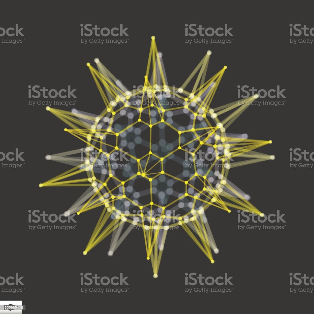 Sphere with Connected Lines and Dots. Connection Structure. vector art illustration