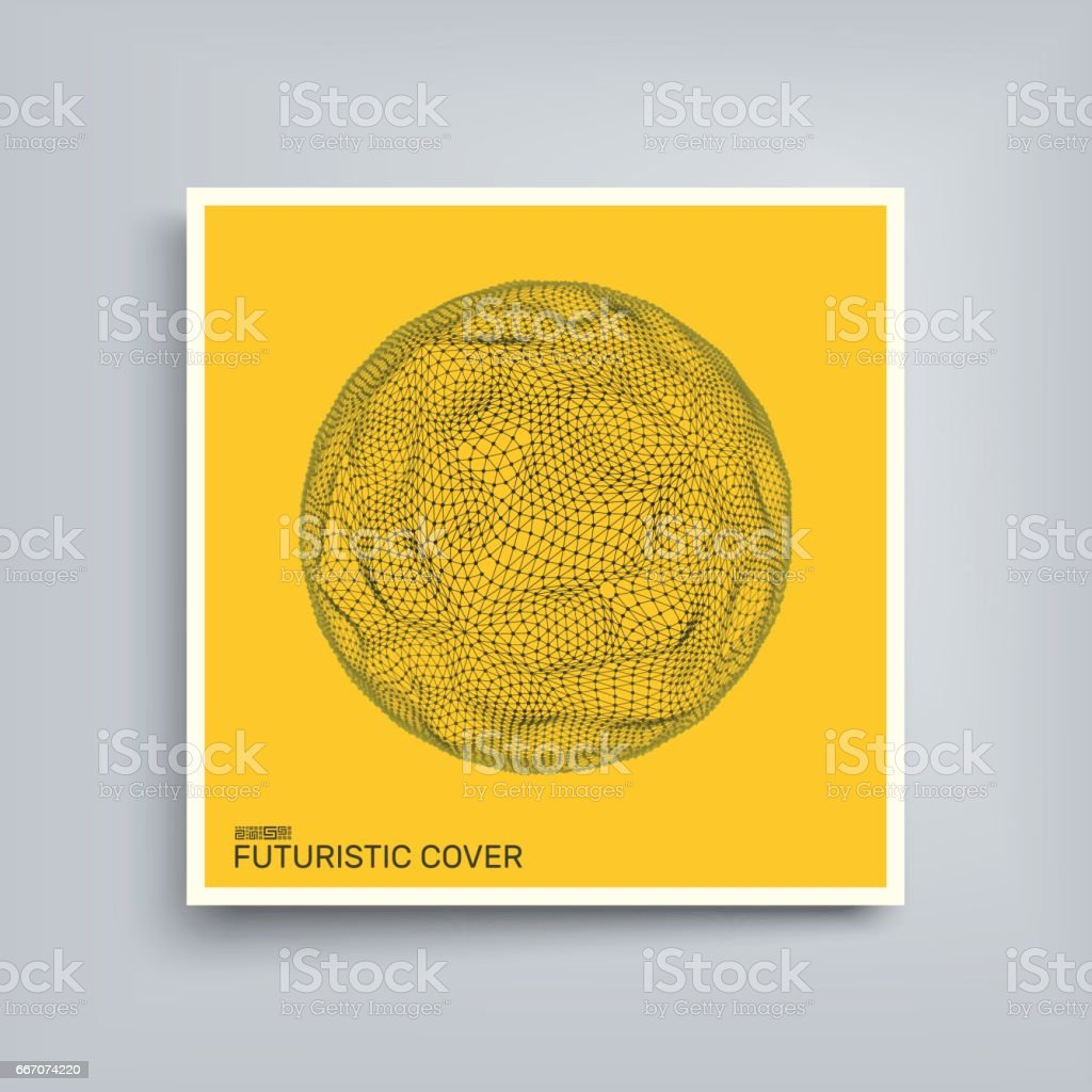 Sphere with Connected Lines and Dots. Textbook, booklet or notebook mockup. Cover design template. vector art illustration