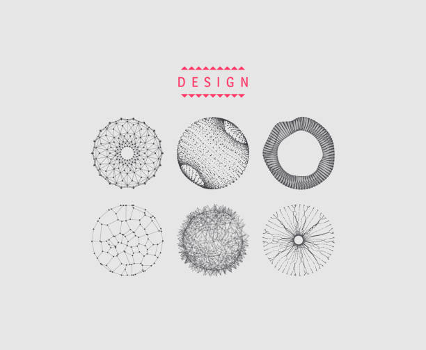 Sphere with connected lines and dots. Wireframe illustration. Abstract 3d grid design. Technology style. vector art illustration