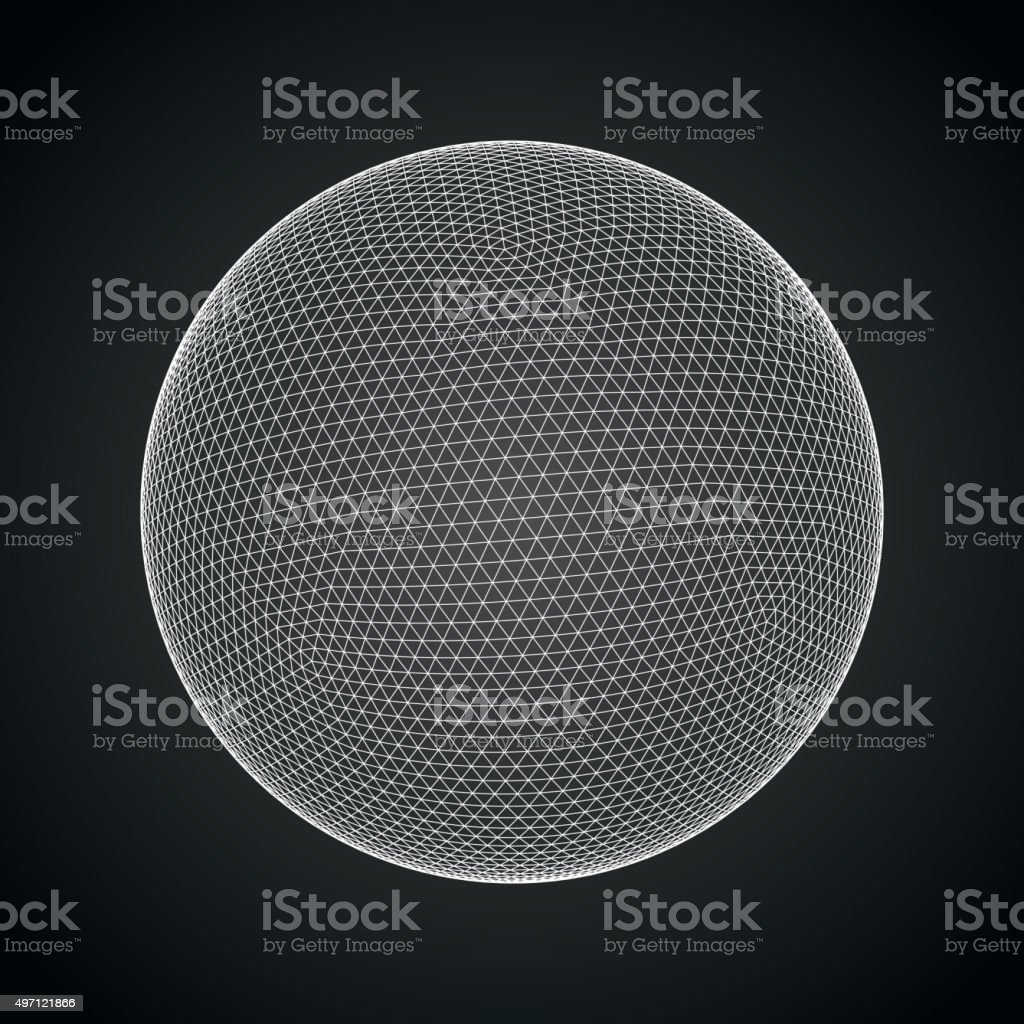 3D sphere with global line connections vector art illustration