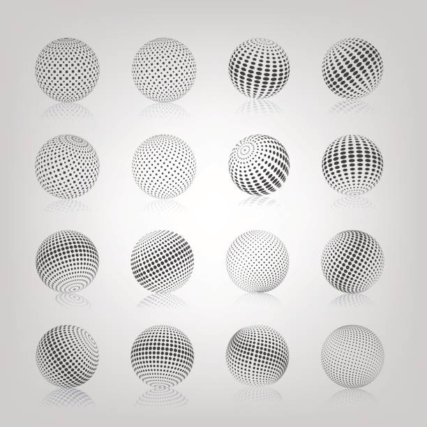 Sphere with halftone fill, vector illustration. vector art illustration