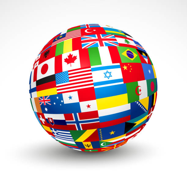 3d sphere with world flags in it - antarctica travel stock illustrations