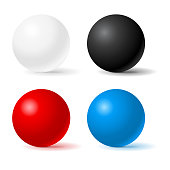 Spheres. Colored 3d geometric shapes. Vector illustration isolated on white background