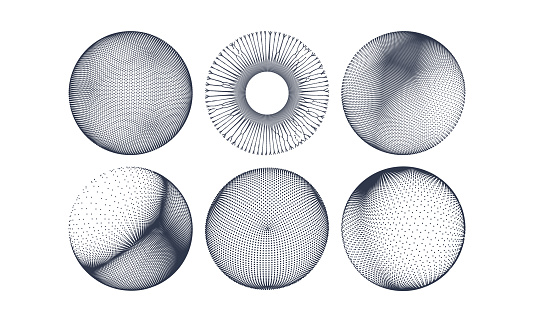 Spheres consisting of points. 3D grid design. Vector illustration for science and technology.