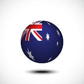 Spherical Flag of Australia 3d rendering, vector illustration