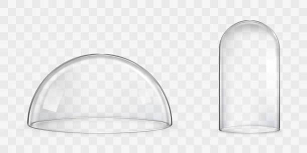 Kugelglas-Kuppel, Glocke Glas realistische Vektoren – Vektorgrafik