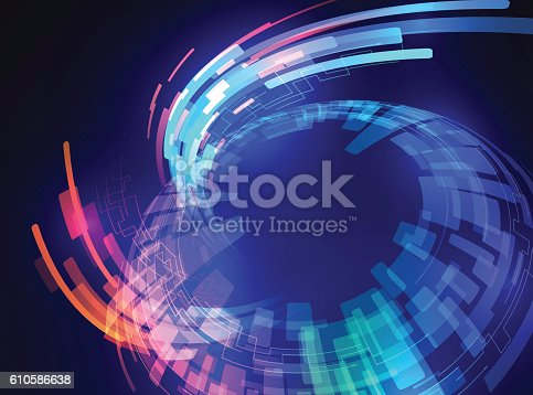 spherical surface, and ray of light, abstract image, vector illustration