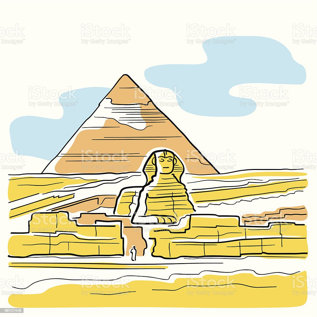 Sphinx and Great Pyramid vector art illustration