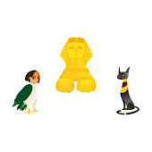 Sphinx, harpy and black cat, symbols of Egypt