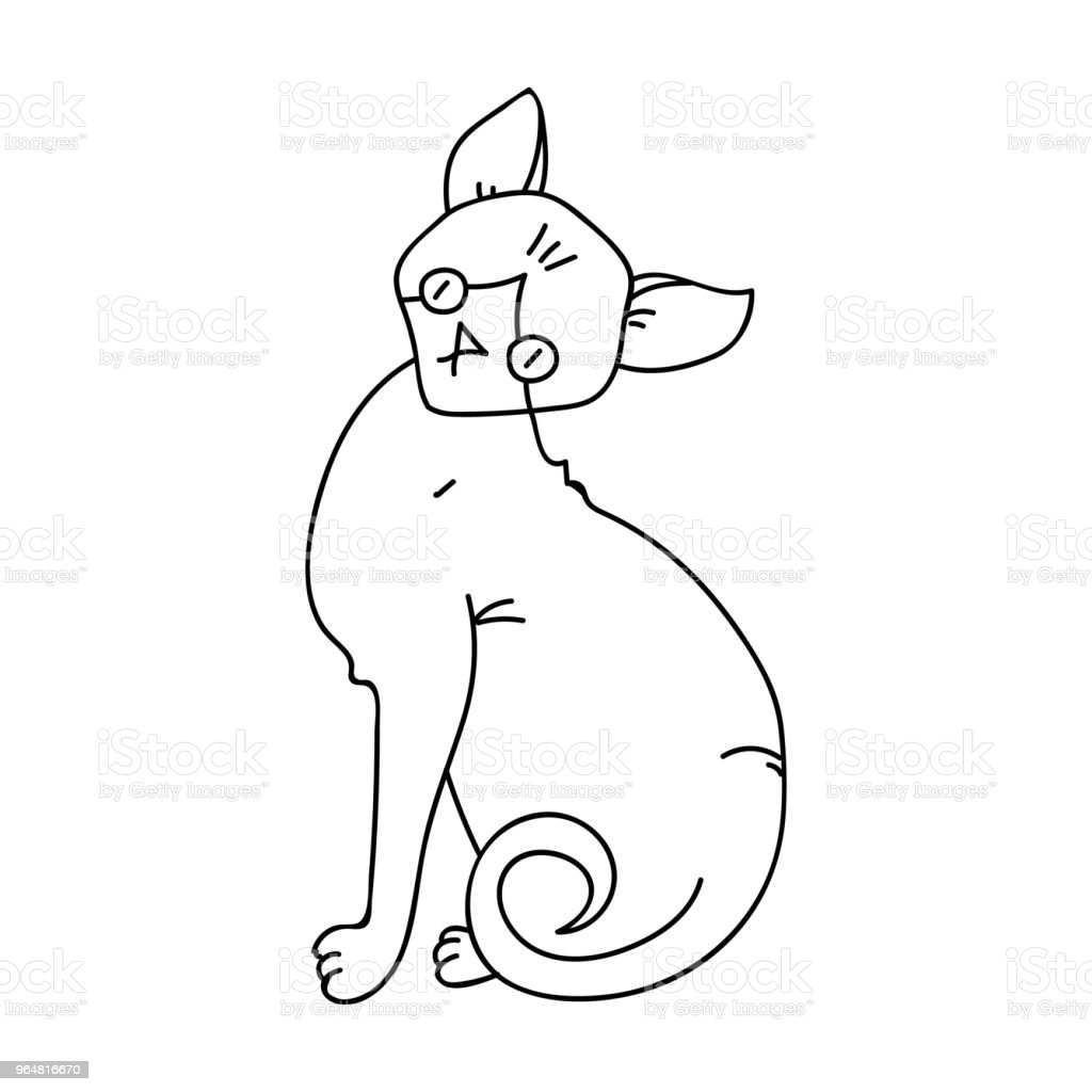 Sphynx icon in outline style isolated on white background. Cat breeds symbol stock vector web illustration. royalty-free sphynx icon in outline style isolated on white background cat breeds symbol stock vector web illustration stock vector art & more images of animal