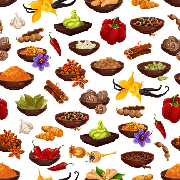spice food ingredient seamless pattern background - indian food stock illustrations, clip art, cartoons, & icons