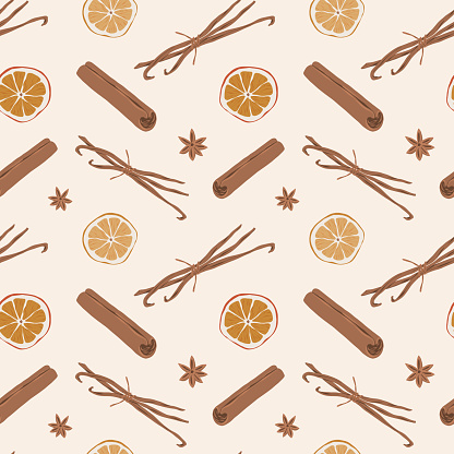 Spice pattern, cinnamon, vanilla and dried orange slice, anise stars illustration, seamless background, hand drawn vector illustration, mulled wine seasoning