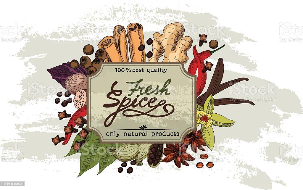 Spice vinage label. vector art illustration