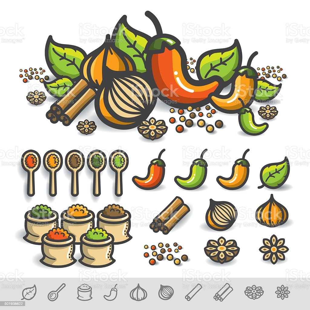 Spices and Herbs Vector vector art illustration