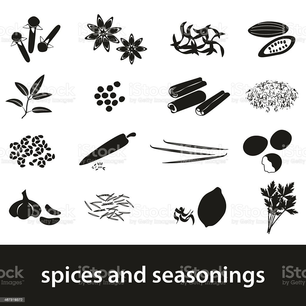 spices and seasonings black icons set eps10 vector art illustration