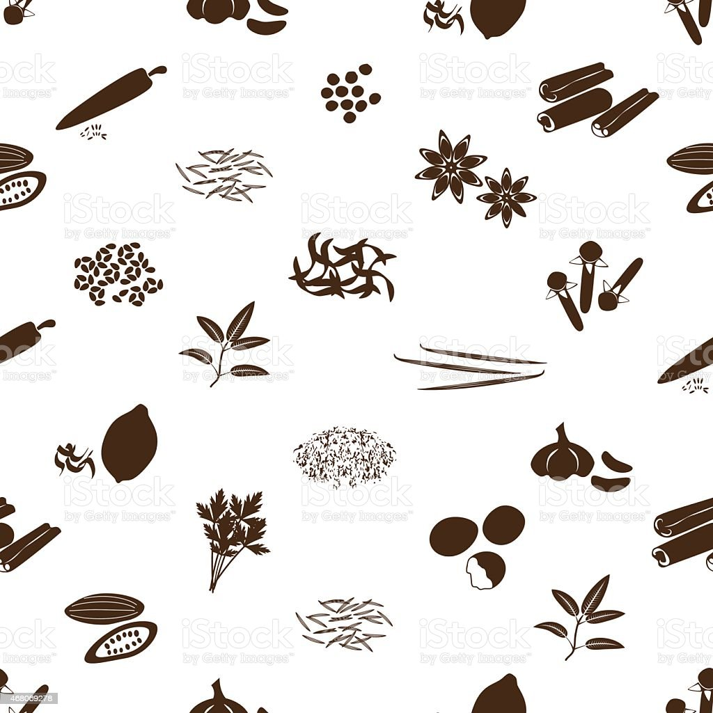 spices and seasonings icons seamless pattern eps10 vector art illustration