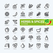 Spices, condiments and herbs  - outline icons collection