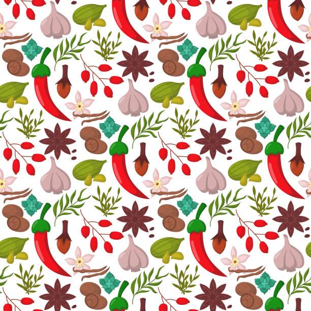 スパイス調味料のシームレスなパターン背景がある調味料食品ハーブ装飾的な健康的な有機風味香味野菜のベクトル図 - カレー点のイラスト素材/クリップアート素材/マンガ素材/アイコン素材