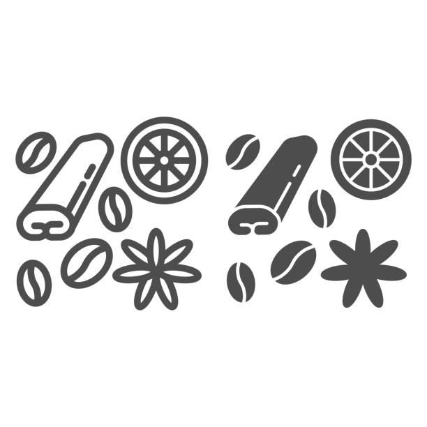 ilustraciones, imágenes clip art, dibujos animados e iconos de stock de especias para la línea de café y té e icono sólido, concepto de tiempo de café, especias y signo de condimento sobre fondo blanco, frijoles café, anís, canela e icono de limón en estilo de esquema. gráficos vectoriales. - clavo especia