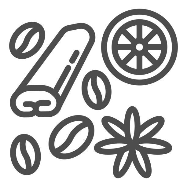 ilustraciones, imágenes clip art, dibujos animados e iconos de stock de especias para el icono de la línea de café y té, concepto de tiempo de café, especias y signo de condimento sobre fondo blanco, frijoles café, anís, canela e icono de limón en estilo de esquema. gráficos vectoriales. - clavo especia