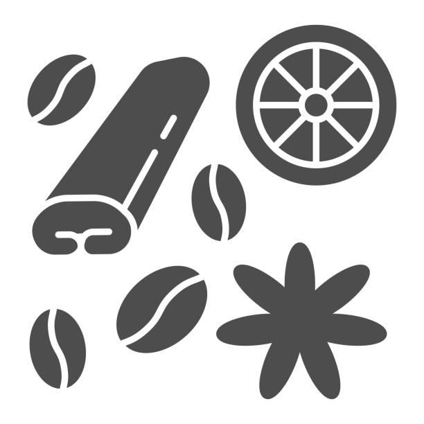 ilustraciones, imágenes clip art, dibujos animados e iconos de stock de especias para el café y el té icono sólido, concepto de tiempo de café, especias y signo de condimento sobre fondo blanco, frijoles café, anís, canela e icono de limón en estilo glifo. gráficos vectoriales. - clavo especia